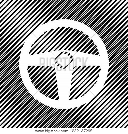 Car Driver Sign. Vector. Icon. Hole In Moire Background.