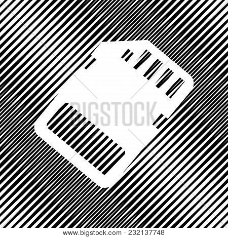 Memory Card Sign. Vector. Icon. Hole In Moire Background.