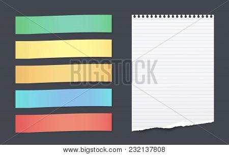 Set Of Colorful Horizontal Sticky Notes With Torn Lined Paper Sheet For Text Stuck On Black Backgrou