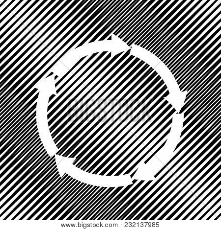 Circular Arrows Sign. Vector. Icon. Hole In Moire Background.