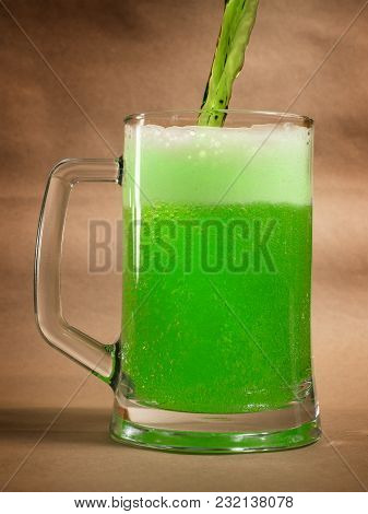 Green St Patrick's Day Beer On Craft