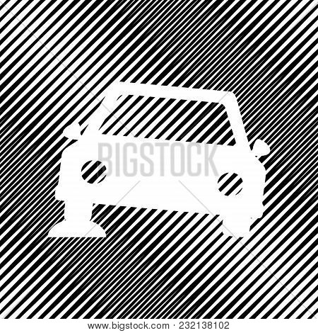 Car Parking Sign. Vector. Icon. Hole In Moire Background.