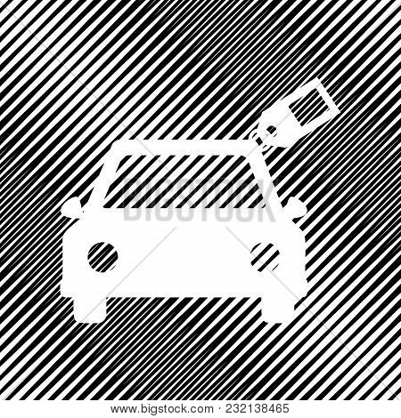 Car Sign With Tag. Vector. Icon. Hole In Moire Background.