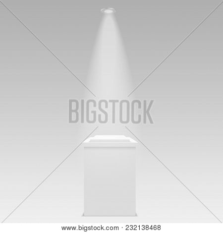 Round Stage Podium Illuminated With Light On Transparent Background. Stage Vector Backdrop.  Vector