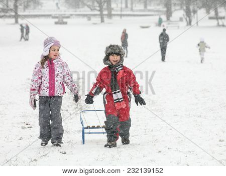 Two Happy Kids Snow Sled