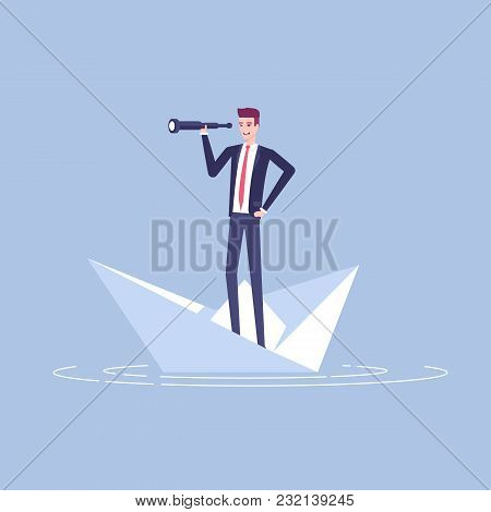Young Businessman Floating On A Paper Boat And Looking At The Spyglass Vector Flat Illustration. Bus