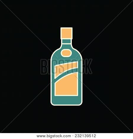 Cognac Bottle Icon. Cartoon Cognac Bottle Vector Icon For Web Design Isolated On Black Background