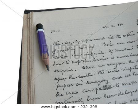 Ancient manuscript and small blue pencil on white background poster