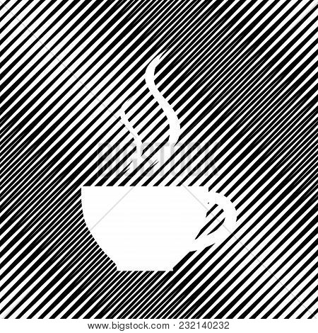 Cup Sign With Two Small Streams Of Smoke. Vector. Icon. Hole In Moire Background.