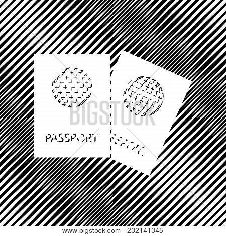 Two Passports Sign Illustration. Vector. Icon. Hole In Moire Background.