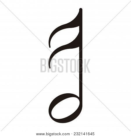 Isolated Sixteenth Note. Musical Note. Vector Illustration Design