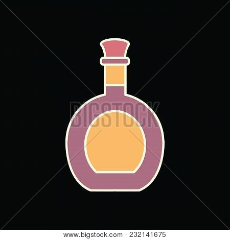 Alcohol Bottle Icon. Cartoon Alcohol Bottle Vector Icon For Web Design Isolated On Black Background