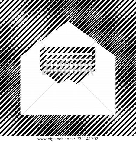 Letter In An Envelope Sign Illustration. Vector. Icon. Hole In Moire Background.