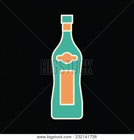 Martini Bottle Icon. Cartoon Martini Bottle Vector Icon For Web Design Isolated On Black Background