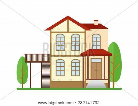 Vector Illustration Modern House, Real Estate, Family Home, Apartment, Cottage, Building Concept In