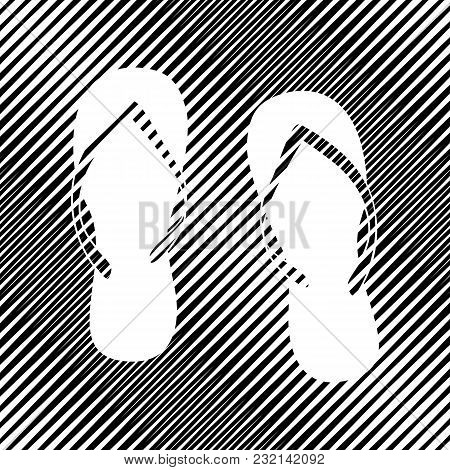 Flip Flop Sign. Vector. Icon. Hole In Moire Background.