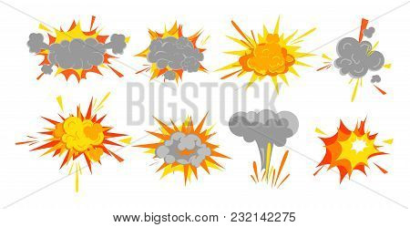 Vector Illustration Set Of Smooth Vector Explosion Effect, Bomb Boom In Cartoon Comic Retro Style. S