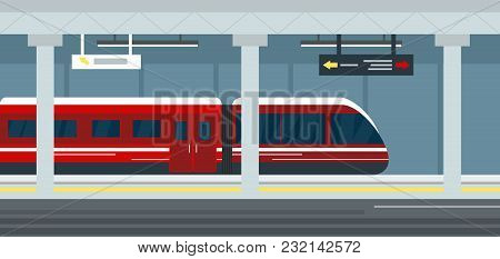 Vector Illustration Of Empty Subway Station Interior, Subway Railway Station Underground, Metro Plat