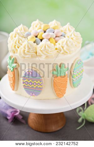 Carrot Cake With Cream Cheese Frosting For Easter Decorated With Cookies