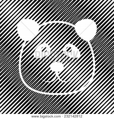 Panda Sign Illustration. Vector. Icon. Hole In Moire Background.