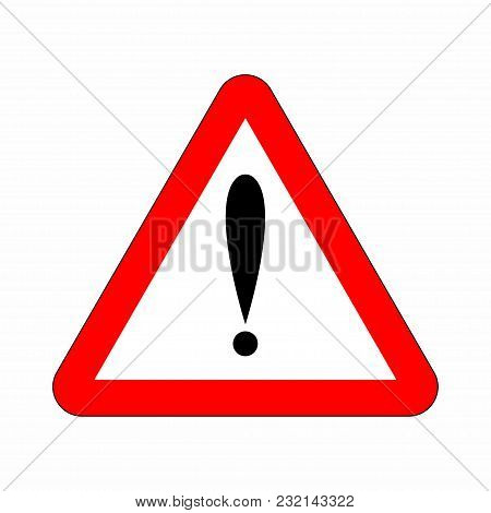 Attention Sign In Triangle. Red Attention Icon Danger Button And Warning Sign. Vector
