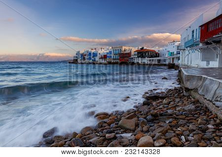 View Of The Old Historical District Of Little Venice In The City Chora. Greece. Mykonos.