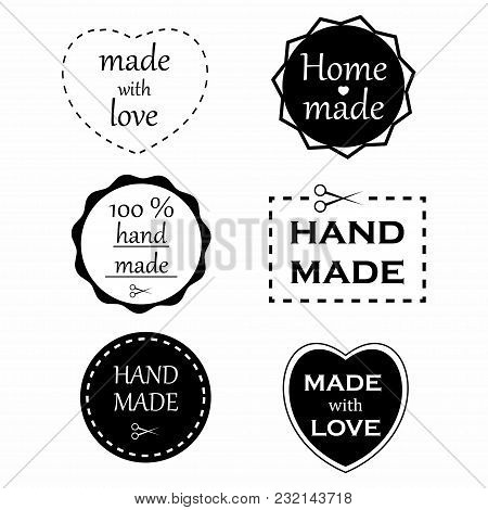 Handmade Labels. Set Of Handmade Badges And Logo Elements. Made With Love And Home Made Labels. Vect