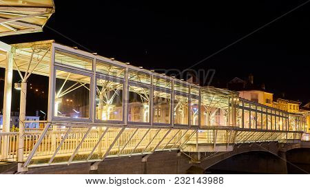 Architectural Canopy On River Bridge At Night