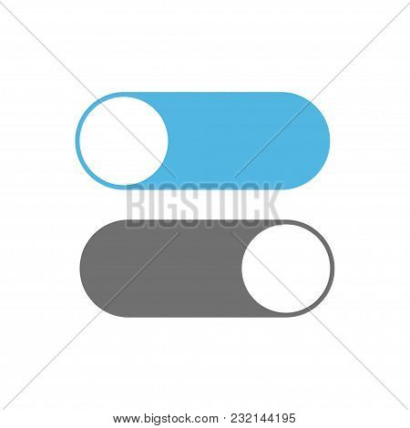 On And Off Switch Toggle. Toggle Icons On White Background. Vector