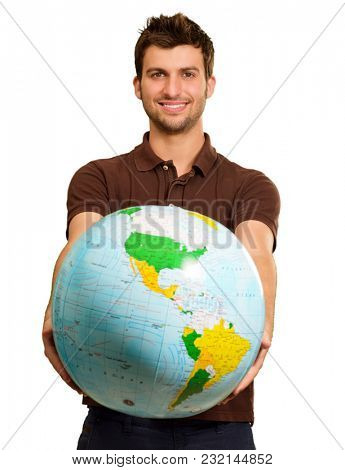 Young Man Holding Globe On White Background