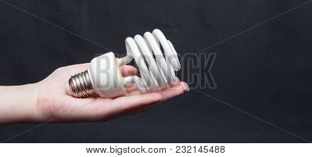 Energy Saving Lamp In Hands On A Black Background.