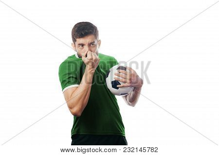 Football Player Celebrates Kissing His Uniform On White Background