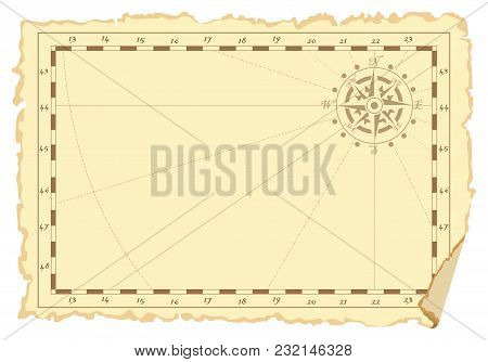 Concept Of An Old Sea Chart Template. Vector Illustration.