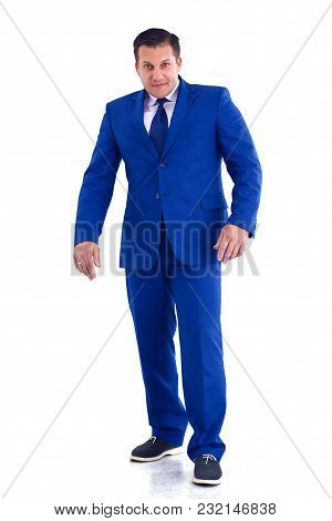 Happy Businessman Standing Isolated On White Background
