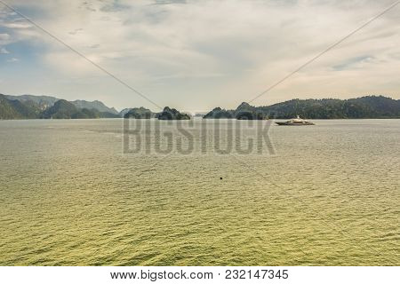 Strait Of Malacca In The Andaman Sea And A Yacht Sailing In Front Of The Malaysian Langkawi Archipel