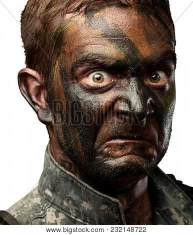 Close Up Of Angry Soldier Face On White Background