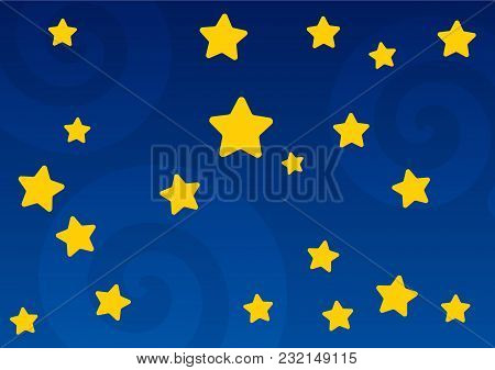 Children's Background With Stars. Background Of The Night Sky. Vector Illustration.