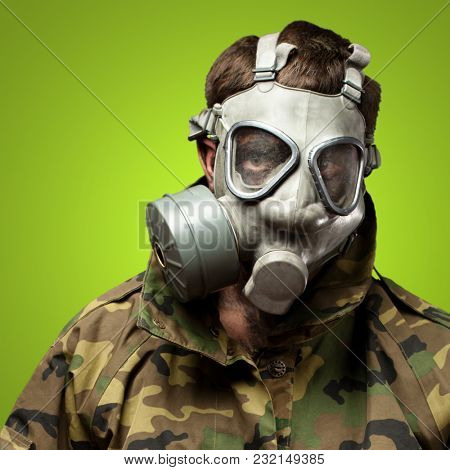 Soldier With Gas Mask against a green background