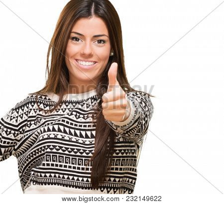 Young Woman Showing Best Of Luck Sign On White Background