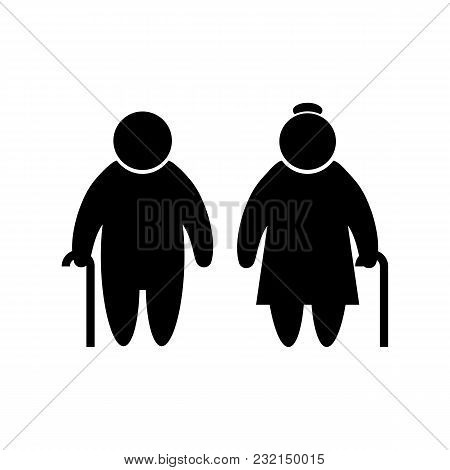 Elder People Icon In Flat Style Old Men Simbol In Black Old Man And Woman Pictogram Isolated On Whit