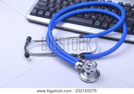Stethoscope On Modern Laptop Computer. Rx Prescription. Healthcare Concept