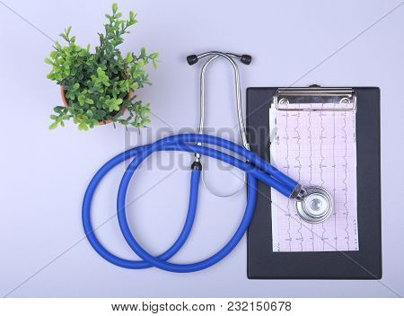Stethoscope On A Modern Keyboard, Rx Prescription On White Table With Space For Text.