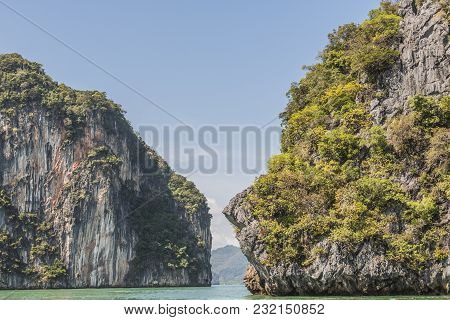 Small Channel Between Islets With Mountains That Look Like Towers In The Bay Of Phang Nga Thailand