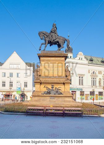 Podebrady, Czech Republic - February 26, 2018: Equestrian Statue Of George Of Podebrady, Jiri Z Pode