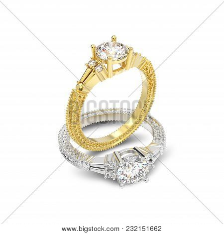 3d Illustration Isolated Two Yellow And White Gold Or Silver Decorative Diamond Rings With Ornament