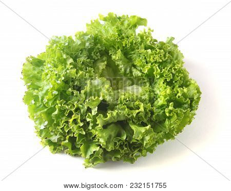 Fresh Vegetables, Garlic And Leaf Lettuce. Isolated On White Background. Selective Focus