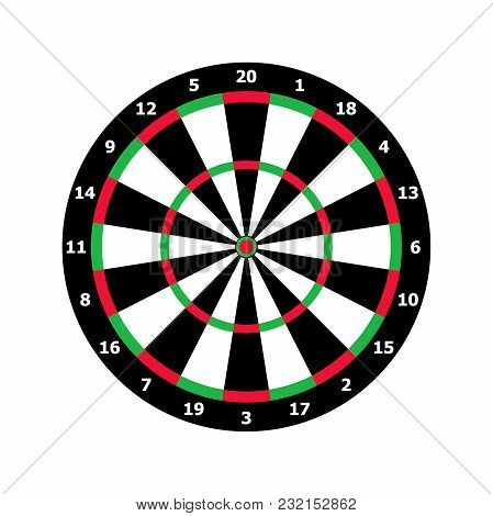 Classic Darts Board Game Template In Black And White, Green And Red