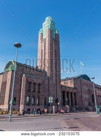 Helsinki, Finland - August 20, 2017: Building With Clock Tower Of Central Railway Station