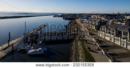 Steveston Waterfront Boardwalk Aerial On The Fraser River - Richmond, Bc