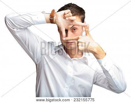 Portrait Of Man Gesturing On White Background